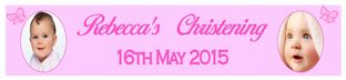 Personalised Girl Christening Banner Design 1